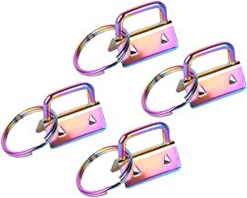 SimpleLife Key Fob Chain Hardware 25mm Regenbogenfarbe Vakuumbeschichtung Schlüsselbund Split Ring Hardware Zubehör, 4er Pack