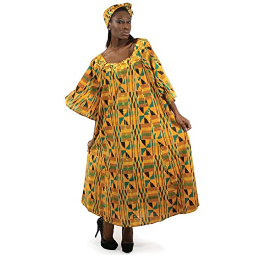 cd726bc889f Kente Cloth Pattern Umbrella Dress with Head Wrap - One Size Fits Most