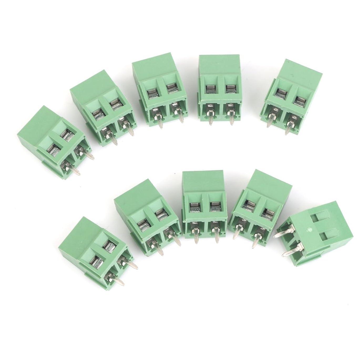 鏡のぞき見コーン10個 ターミナルブロック 5mm 2ピン 端子台コネクタ PCBマウント ネジ留め式 緑色