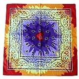 GROOMY Square Scarf, Multicolor Tie Dye Bandana Head Wrap Rainbow Swirl Paisley Floral Square Scarf-1