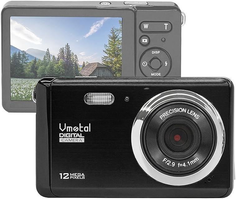 Vmotal GDC80X2 Cámara Digital compacta con Zoom Digital 8X / 12 MP/Cámara compacta HD/Pantalla TFT LCD de 28 para niños/Principiantes/Ancianos (Negro)