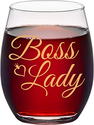 Boss Lady Stemless Wine Glass, Wine Gifts for Female Boss Women Friend Wine Lover Lady Her Coworkers Bosses Day Birthday Christmas Appreciation Gift, 15 Oz Wine Glass with Gold Words