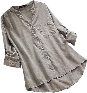 UUYUK Women's Long Sleeve V Neck Tops Pocket Cotton Button Up Shirts Blouse