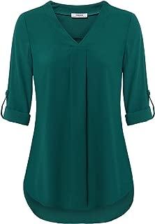 Womens 3/4 Cuffed Sleeve Chiffon Printed V Neck Casual Blouse Shirt Tops