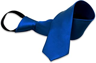Boys'Solid Color Zipper Tie 15 inch/19 inch Polyester Satin Zipper Neckties by AURYA