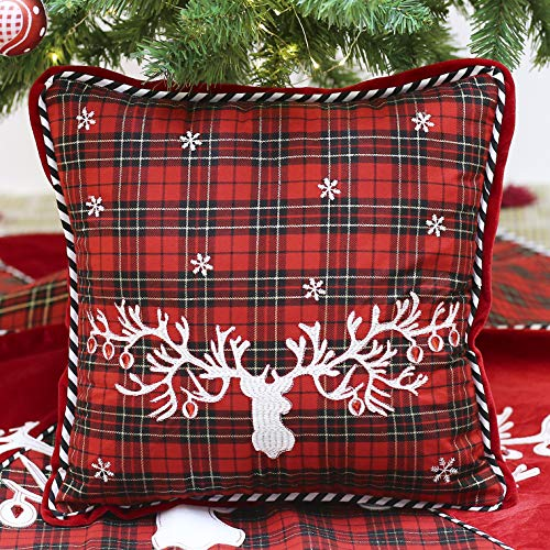 Applique Reindeer with Christmas Pillow Cover with Tartan Plaid