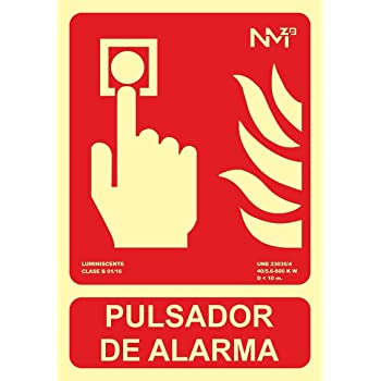 Normaluz RD00A311 Se/ñal Luminiscente Pulsador de Alarma CTE PVC Glasspack 0,4mm 21x21cm con CTE RIPCI y Apto para la Nueva Legislaci/ón