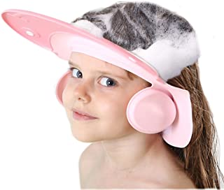 AMTOOCH Baby Bath Shampoo Cap wash Shower Visor hat Prevent Water from Entering The Eyes and Ears Adjustable Bathing tub Head Hair Rinser Shield Protection Kids and Toddler (Pink)