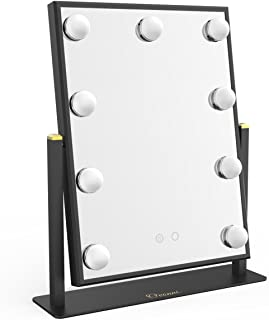 Ovonni Vanity Hollywood Makeup Mirror with 9 LED Lights, Dimmable Lighted Tabletop Cosmetic Mirror with Touch Control, Black
