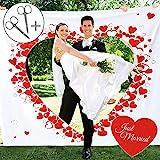 Casa Vivente Hochzeitslaken zum Ausschneiden, Just Married, Motiv Herzen, Set mit Laken und Zwei Scheren, Hochzeitsspiele, Maße 2 x 1,80 m