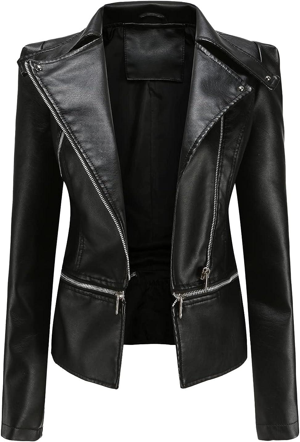 Peaceglad Womens Punk Gothic Crop Removable Faux Leather Moto Biker Jackets Long Sleeve Zip Up Lapel Coats