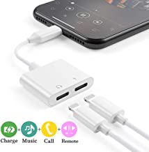Headphone Jack Splitter Adapter for iPhone Xs/Xs Max/XR/8/8 Plus/X/7/7 Plus Adapter Audio & Charger & Call & sync Cable For iPhone Dongle Connector 2 in 1 Splitter Adapter Support All IOS System-White