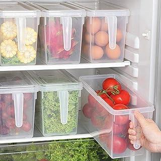 In-House Food Storage Boxes With Lids Freezer Safe Volwco 3 Pcs 4.7L Large Plastic Kitchen Refrigerator Stackable Food Fru...