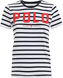 T-Shirt a Righe con Logo 211782939001 Bianco Donna