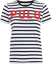 Polo Ralph Lauren T-Shirt a Righe con Logo 211782939001 Bianco Donna