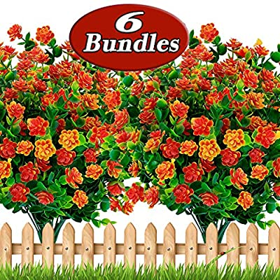 Axylex Artificial Flowers Outdoor Plastic Plants - 6PCS Outside Face Mums Fake Greenery UV Resistant No Fade Faux Daffodils Bundles Shrubs Home Garden Porch Patio Decoration Office Indoor (RedOrange)