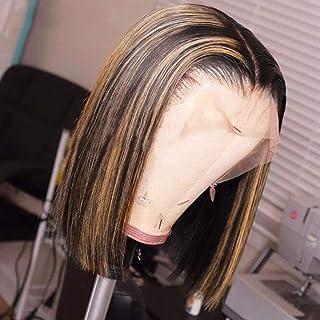 JYZ Hair Ombre Highlight Lace Front Human Hair Wigs Bob 150% Density Brazilian Virgin Human Hair Wigs Ombre Lace Front Wig Human Hair Pre Plucked with Baby Hair 2 Tones Color 1B/27 (14 Inch)