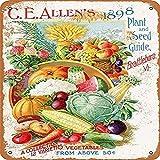 ivAZW Cartel de Chapa Vintage Shabby Chic Estilo Placa de Metal Frutas Vegetales Huevos Retro Placa decoración de Pared para Cocina jardín Mercado 20x30cm 20