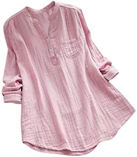 ANBOO Cotton Linen Shirts for Women, Stand Collar Long Sleeve Casual Loose Tunic Tops T Shirt Blouse Cotton Linen Tops (3XL, Pink)