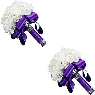 CHRISTY M Beautiful White Ivory Bridal Bridesmaid Flower Wedding Bouquet Artificial Flower Rose Bouquet Crystal Bridal Bouquets,2 Pieces Purple