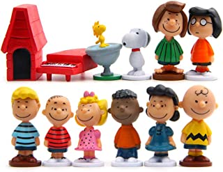 Peanuts Movie Classic Characters Toy Figure,12 Pcs Snoopy Cake Toppers-Kids Birthday Party Cake Decoration Supplies