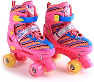 YPYGYB Roller Skates Femme Patins /à Roues Align/éEs Roller Enfant Fille Patin /à roulettes 2 en 1 Runaway Patins /à Quatre Roues,Red-31