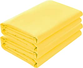 BASIC CHOICE 2-Pack Flat Sheets, Breathable 2000 Series Bed Top Sheet, Wrinkle, Fade Resistant - Queen, Yellow
