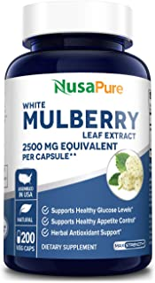 White Mulberry Leaf Extract 2500 mg 200 Veggie Caps ( Vegan, Non-GMO & Gluten-Free) Supports Healthy Glucose Levels, Suppo...