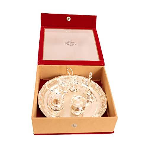 Indian Art Villa Silver Plated Pooja Aarti Thali With Gift Box, Used As Temple Home, Set Of 5 Pieces, Diwali Gfit Item