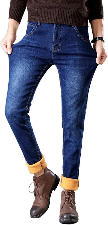 MENGMIAN Men's Straight Seasonal Wrap Introduction Fit Jean Blue Thermal Overseas parallel import regular item 33