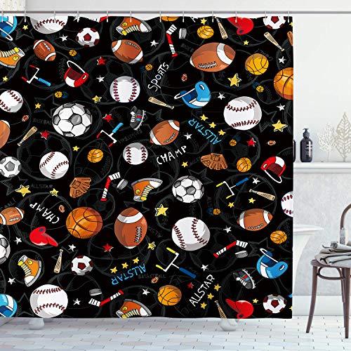 Ambsunny Kinder Sport Duschvorhang Jungen Kinder Teens Spiel Baseball Basketball Fußball Hockey Star Artwork Stoff Badezimmer Dekor Set mit 12 Haken 152,4 x 180,9 cm, Schwarz Gelb