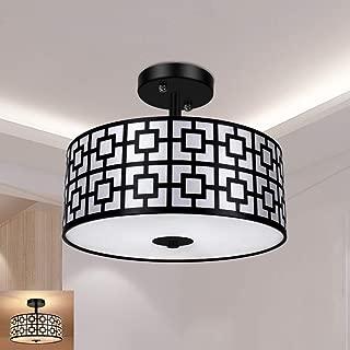 Modern Semi Flush Light Fixture Ceiling, DLLT Bedroom Ceiling Drum Light, Entry Light Fixtures Ceiling Hanging for Dining Room, Kitchen, Hallway, Entry, Foyer, Living Room, 3-Lights-Black Fini