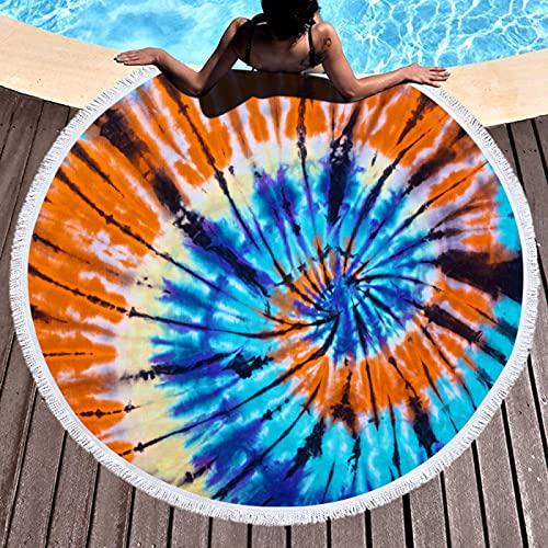 NTtie Toalla de Playa- Manta de Playa de Microfibra Absorción de Agua Regalo de Playa de Vacaciones Línea Estilo Arco Iris con borlas.