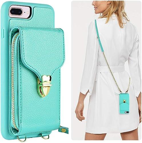 JLFCH iPhone 8 Plus Wallet Case, iPhone 7 Plus Zipper Wallet Case with Card Slot Holder Leather Handbag Buckle Detach...