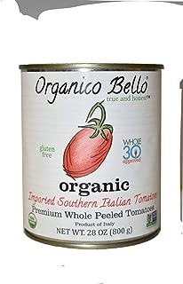Organico Bello - Organic Southern Italian Whole Peeled Tomatoes - 14.28oz (Pack of 12) - Non GMO, Whole 30 Approved, Gluten Free, BPA Free