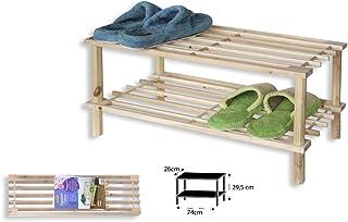 TIENDA EURASIA® Zapatero de Madera Natural. Estantería Disponible en 3 tamaños. Diseño Sencillo y Compacto. Ideal para Cualquier rincón de tu hogar. (Natural, 2 Alturas)