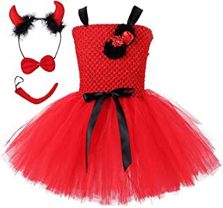 4pcs Little Devil Tutu Costume for Girls 1-6Y Halloween Carnival Party
