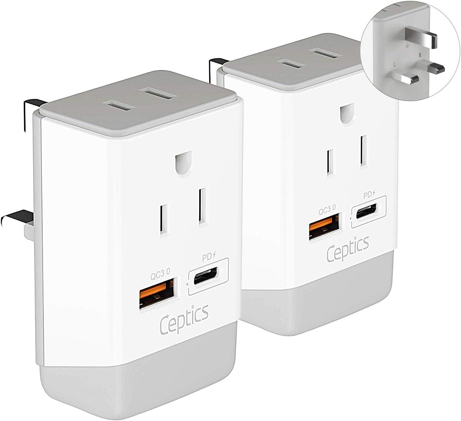 UK Ireland Power Plug Adapter 2 Pack Set, QC 3.0 & PD by Ceptics, Safe Dual USB & USB-C - 2 USA Socket Compact & Powerful - Use in London UAE Dubai Kenya British Hong Kong Type G AP-7 Fast Charging