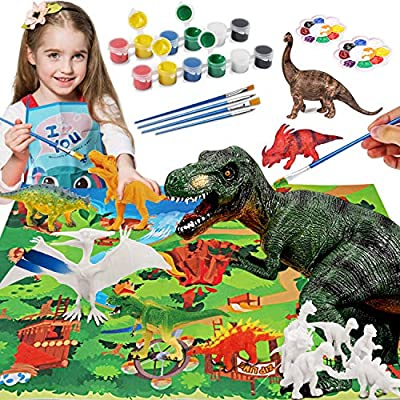 HOMOFY Dinosaur Painting Kit for Kids STEM Dinosaurs Toys Kids Crafts and Arts Set DIY Easter Paint Dinosaur Animal Set Art and Craft Supplies Creativity Gifts Toys for 6 7 8 9 Years Old Boys Girls