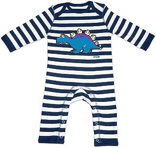 HARIZ HARIZ Baby Strampler Streifen Stegosaurus Dinosaurier Dinosaurier Kids Plus Geschenkkarten Navy Blau/Washed Weiß 12-18 Monate