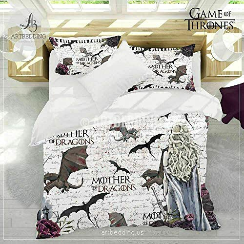 3D duvet Cover Sets Game of Thrones Theme, King in the North and Many more, UK main land Post (Mother of Dragons, Double Duvet)
