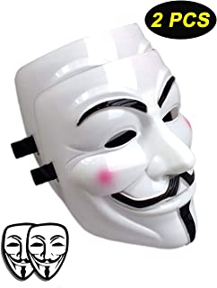 Mimgo-shop V for Vendetta Mask Scary Halloween Mask for Adult Men Simple Anonyumous Costume Cosplay for Party Carnival and March Protest (2 PCS)