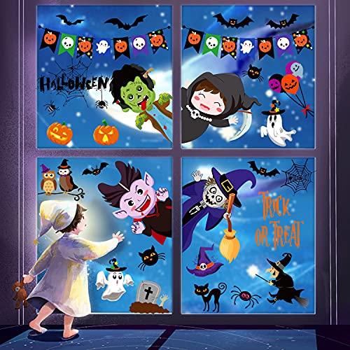 Svanco 9 Hojas Halloween Pegatinas de Ventana Doble Cara Pegatinas para Ventanas de Cristal Halloween Decoración para Niños 9 Hoja Estáticas Pegatinas para Casa Puertas Fiesta