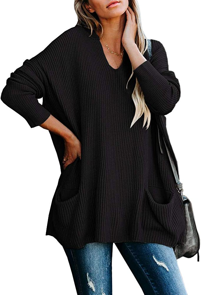 Saodimallsu Womens Hooded Oversized Sweaters V Neck Batwing Long Sleeve Slouchy Loose Knit Pullover Hoodie Tunic Tops