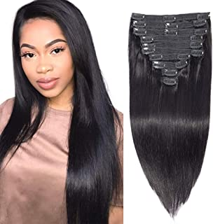 Apeasex Clip in Human Hair Extensions Grade 8A Straight Remy Human Hair Clip ins Extesnions for Women #1B Natural Black Color Thick Hair 10Pcs/set 120g (18 inch, Straight)