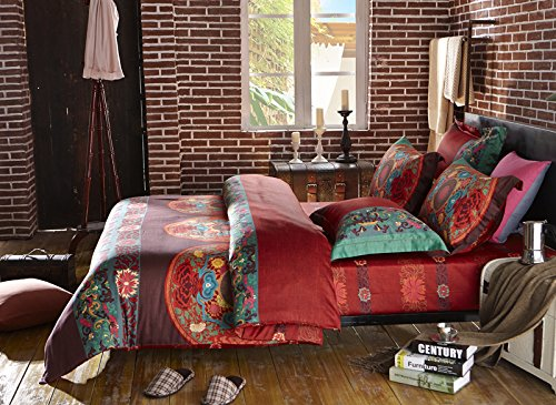 LELVA Boho Bedding Set Bohemian Bedding Set Bedding Moroccan Exotic National Style Bedding, Full Queen Size 4pcs (3, Queen)