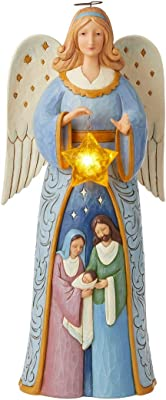 Enesco Jim Shore Heartwood Creek Angel Statue with Nativity Scene 6005916ND 20.25 Inches High,Multicolor