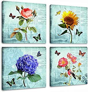 4 Panels Abstract Flower Picture Artwork Contemporary Rose Floral Paintings Butterfly Animal Wall Art Print on Canvas for Living Room Home Decoration