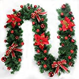 Morbuy Weihnachtsgirlande mit Beleuchtung, Tannengirlande Remote 8 Modus Lichterkette Weihnachten Dekoration 2.7 Meter für Innen und Außen Verwendbar (Rot) - 2