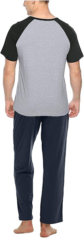 Men's Casual Pajamas Spring Summer Round Collar Cotton Home Short Sleepwear Set